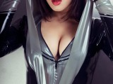 04 catsuit black-silver hood